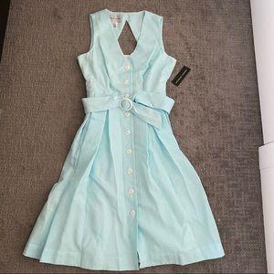 685 Donna Morgan zipper front dress in aqua color